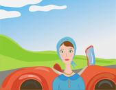 Woman near car in retro style — Stock Vector