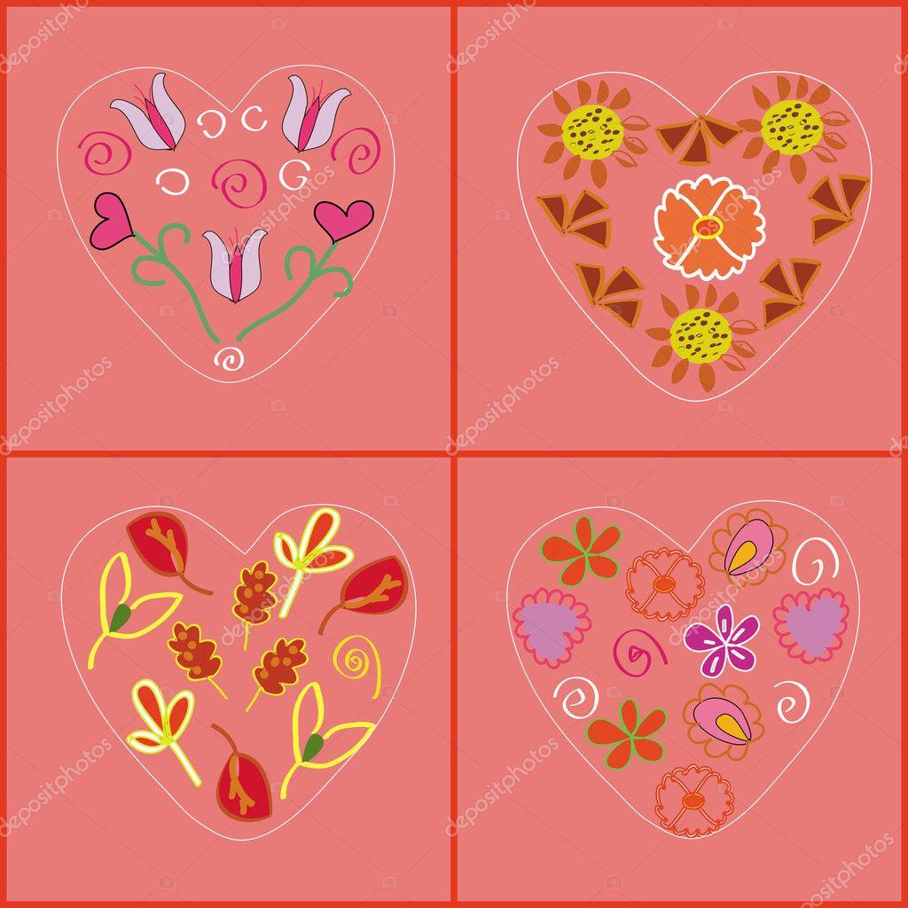 Motif coeur avec des fleurs image vectorielle 2507752 - Coeur avec des fleurs ...