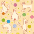 Seamless pattern with funny cats - ベクター素材ストック