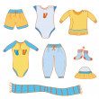 Set of baby boy clothes — Stock Vector #2539627