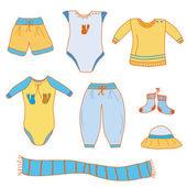 Set of baby boy clothes — Stock Vector
