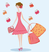 Cute girl with shopping bags — Stock Vector