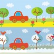 Cute car in summer and winter — Stock Vector #2566901