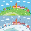 Stock Vector: Spring and winter landscape with houses