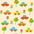 Seamless cartoon cars pattern — Stock Vector #2670383
