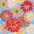 Seamless floral pattern with big dahlia - Stock Vector