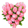 Tulips in shape of heart - Stock Photo