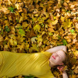 Royalty-Free Stock Photo: Beautiful woman with yellow leaves
