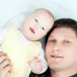 Happy family - father and baby — Stock Photo