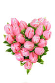 Tulips in shape of heart — Stock Photo