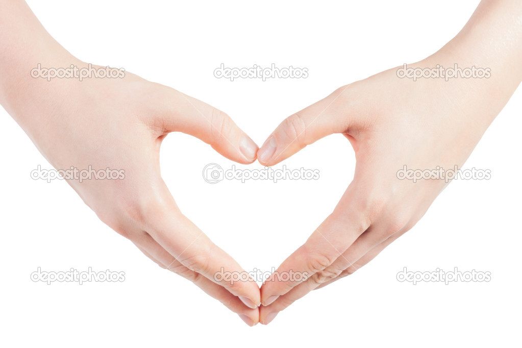 Hands in the shape of heart - isolated on white background — Stock Photo #2387811