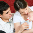 Happy family - mother, father and baby — Stock Photo