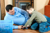 Happy family - father and son — Stock Photo