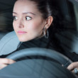 Young pretty woman driving car — Stock Photo
