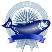 Wappen mit Fisch — Stock Vector