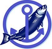 Fisch mit Anker — Stock vektor