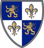 Wappen Löwe-Lilie — Stock Vector
