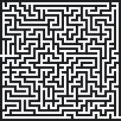 Irrgarten schwarz weiß — Stock Vector
