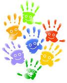 Lachende Kinder-Hände — Stock Vector