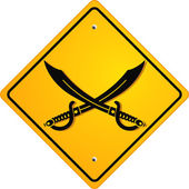 Piraten Achtung — Stock Vector
