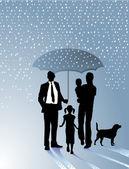 Familie und Regenschirm — Stock Vector