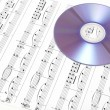 CD on sheet music. Digital music concept. — Stock Photo