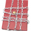 Foto Stock: Book, chain and padlock