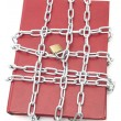 Book, chain and padlock — 图库照片