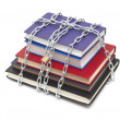 Books chained and locked with padlock - Stock Photo