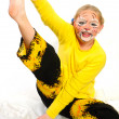 Stock Photo: Girl with drawing by mask tiger