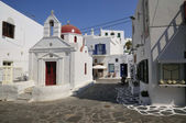 MYKONOS ISLAND on the street church — Stock Photo