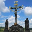 Stock Photo: Charles bridge Statue Saint Cross