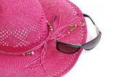 Beach hat and glasses. — Stock Photo