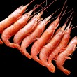 Stock Photo: Frozen shrimps on black.