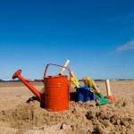 Beach toys in the sandy beach — Stock Photo