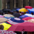 Stock Photo: Crowd of with umbrellas