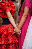 Friends holding hands — Stock Photo