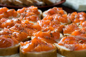 Sandwiches with smoked salmon — Stock Photo
