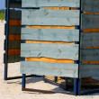 Beach cabine in sandy beach - Stock Photo