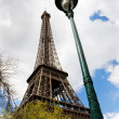 Stock Photo: Eiffel tower and Street lantern