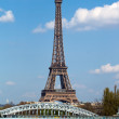 Eifel tower and railway bridge in Paris — Stock Photo