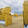 Beach wicker chairs in Germany — Stock Photo