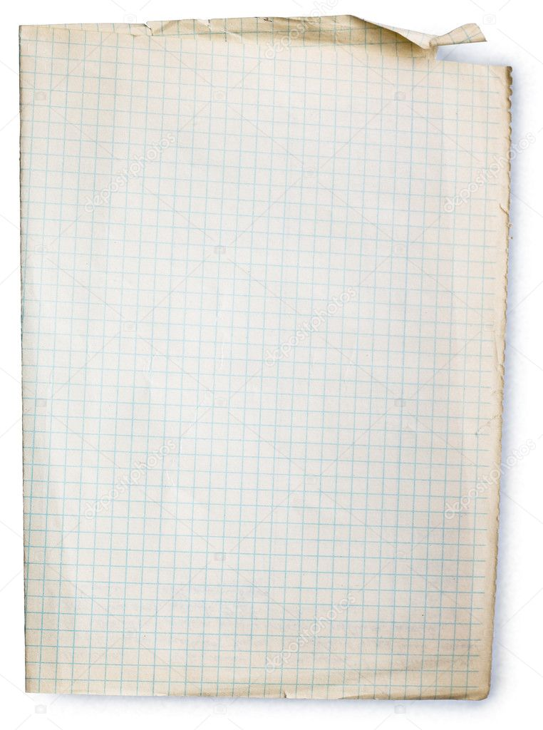 Old square lined paper from note book. Clipping path included to easy remove object shadow or replace background. — Stock Photo #2510950