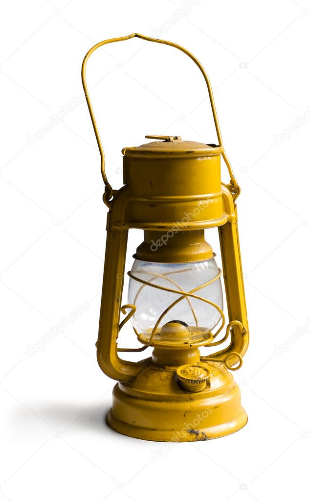 Yellow Kerosene lamp or paraffin lamp isolated on white. Clipping path included  Stock Photo #2511400