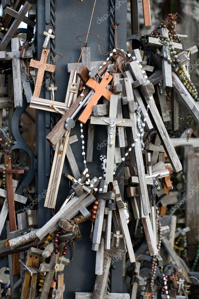A close-up look of the Hill of Crosses. This is a site of pilgrimage near the city of  — Stock Photo #2511532