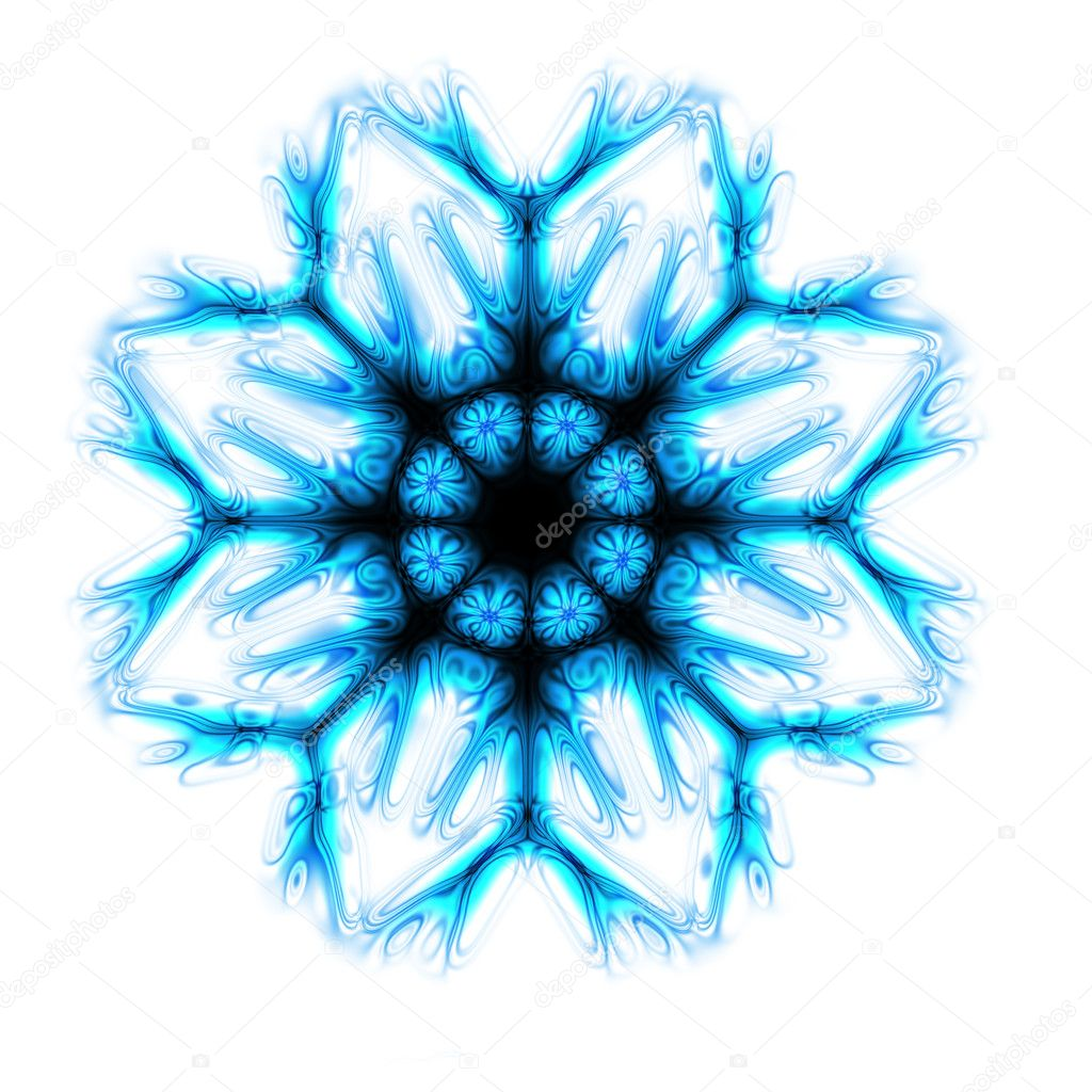 Blue snow star generated by the computer   Stock Photo #2534559