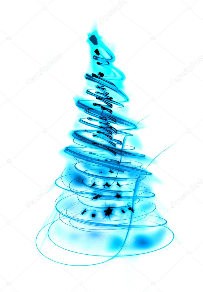 Blue xmas tree on the white background — Stock Photo #2570610