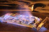 Soundcard in the fire — Stock Photo