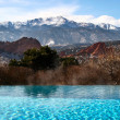 Pool With Mountain View - Stock Photo
