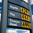 Sky high gas price sign on blue sky — Stock Photo